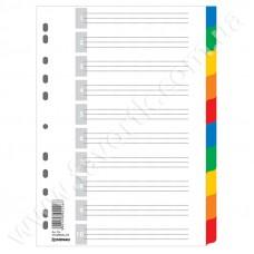 Розділювач цифровий А4 10шт кольоровий з листом опису Donau