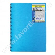 Зошит на пружині B5 80 арк пластикова палітурка Metalic ВМ2419-907 синій
