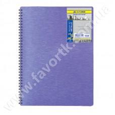 Зошит на пружині А4 80 арк клітка  Metallic фіолетовий пласт.обкл.