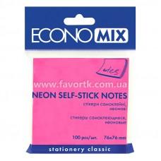 Стікер 75х75мм  Economix 100арк  неон рожевий