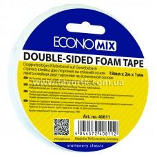 """Скотч двосторонній 18мм х 2м х 1мм """"FOAM"""" на пінній основі  Economix"""
