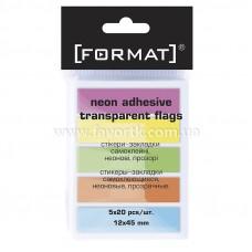 Закладки з клейким шаром 12х45 мм Format  100шт 5 кольорів