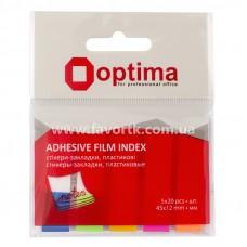 Закладки з клейким шаром 12х45 мм Optima 100шт 5 кольорів