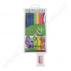 12 кольорових олівців + стругалка в пеналі ПВХ, SMOOTH