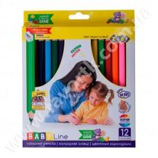 12 кольорових олівців з стругалкою, JUMBO