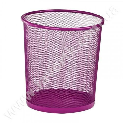 Кошик для паперів круглий 265x265x280мм, металевий, рожевий
