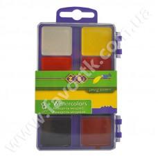 Акварельні фарби 8 кольорів, у салатовій п/к, б/п