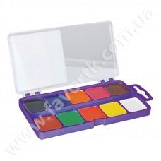 Акварельні фарби 10 кольорів в салатовій п/к, б/п
