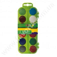 Акварельні фарби 12 кольорів у салатовій п/к, б/п