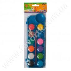Акварельні фарби 12 кольорів у синій п/к + пензлик, KIDS Line