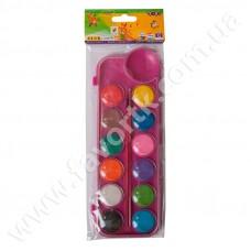 Акварельні фарби 12 кольорів у рожевій п/к + пензлик, Kids Line