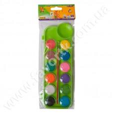 Акварельні фарби 12 кольорів у салатовій п/к + пензлик, KIDS Line